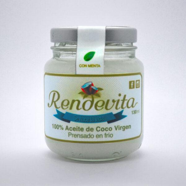 Aceite de Coco Virgen Prensado en frio y menta Rendevita 130 ml frio